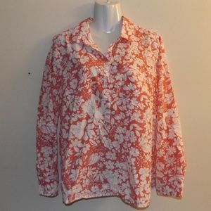 Talbots 14 White/Pink Floral Pop Over Blouse
